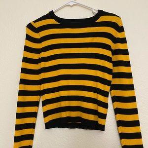 black yellow block striped long sleeve shirt